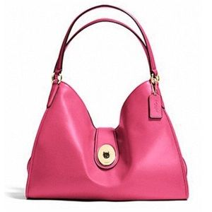Coach smooth Carlyle hot pink leather bag hobo